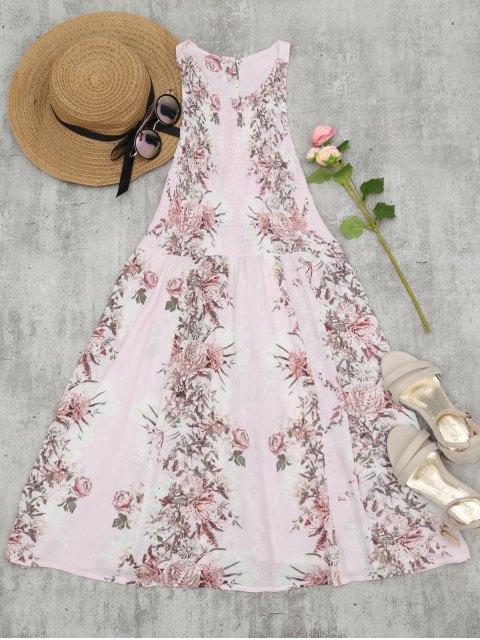 fancy Smocked Floral Half Buttoned Swing Dress - PINK XL Mobile
