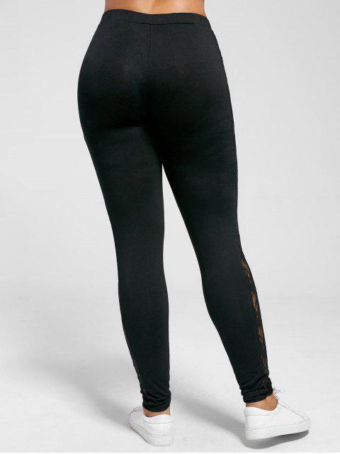 women Plus Size Lace Insert Sheer Leggings - BLACK 3XL Mobile