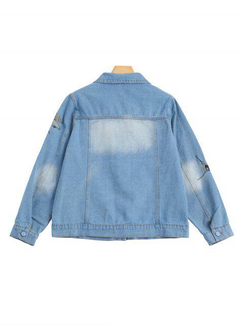 women Birds Embroidered Two Tone Denim Jacket - DENIM BLUE M Mobile