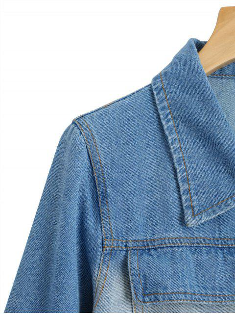 women's Birds Embroidered Two Tone Denim Jacket - DENIM BLUE L Mobile