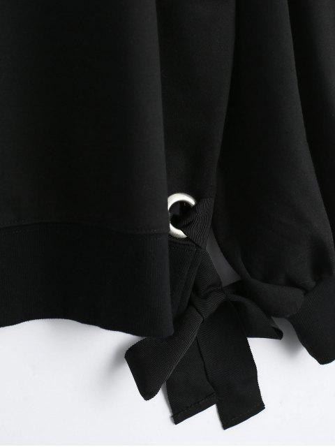 Pullover Lace Up Loose Sweatshirt - Noir L Mobile