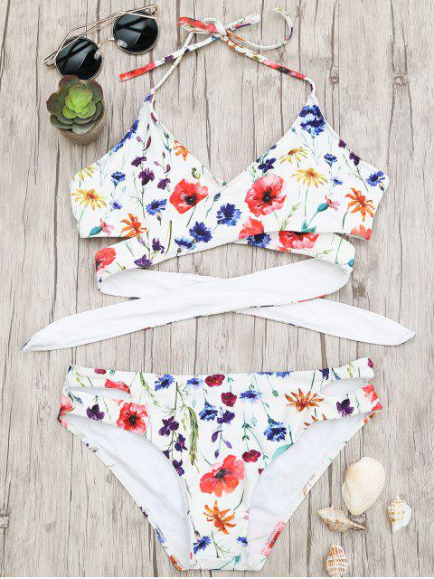 ladies Cut Out Tiny Floral Wrap Bikini - WHITE S Mobile