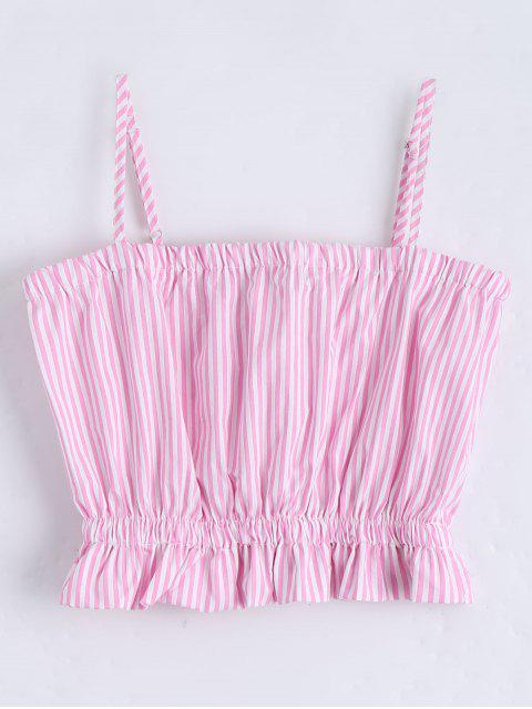 shop Cami Ruffles Cropped Tank Top - PINK S Mobile