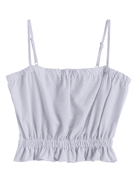 Cami Ruffles Cropped Tank Top - Gris M Mobile
