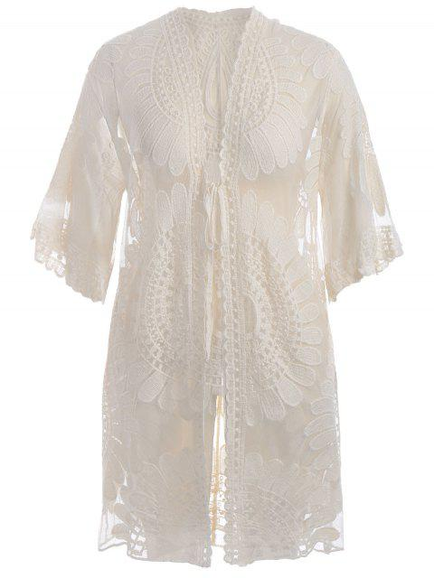 outfits Plus Size Kimono Self Tie Cover Up Dress - OFF-WHITE XL Mobile