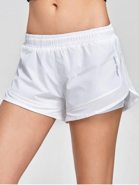 women's Mesh Double Layered Running Shorts - WHITE L Mobile
