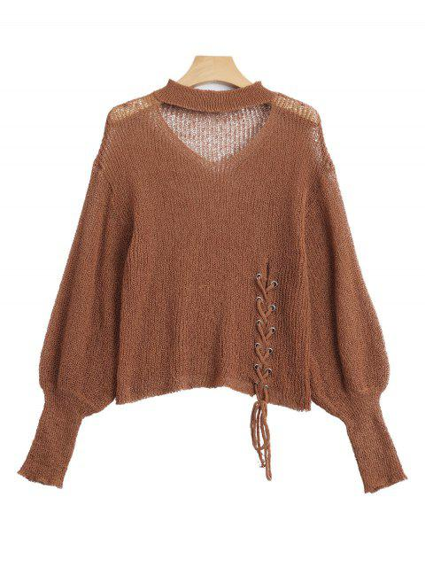 shop Sheer Lace Up Choker Knitwear - LIGHT COFFEE ONE SIZE Mobile
