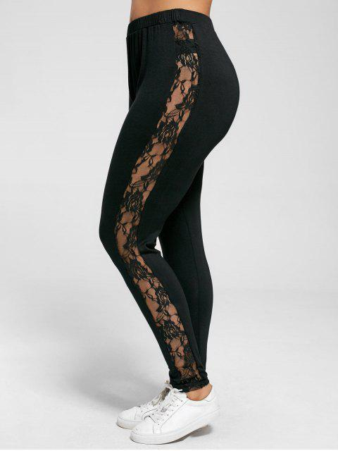 Leggings Grande Taille à Empiècement en Dentelle Transparent - Noir 2XL Mobile