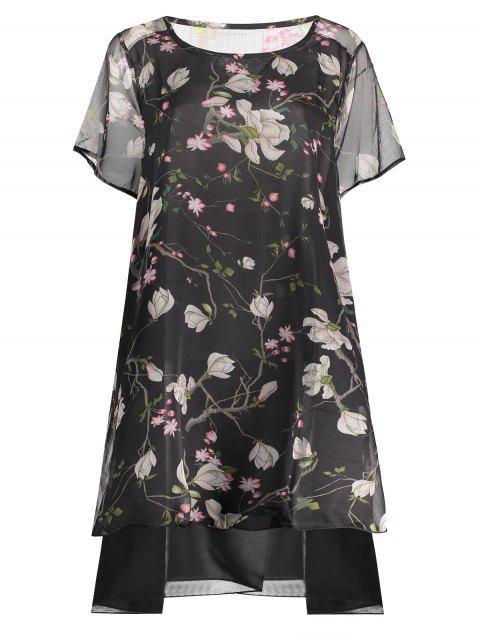 womens Chiffon Peacock Print Plus Size Layered Dress - BLACK XL Mobile