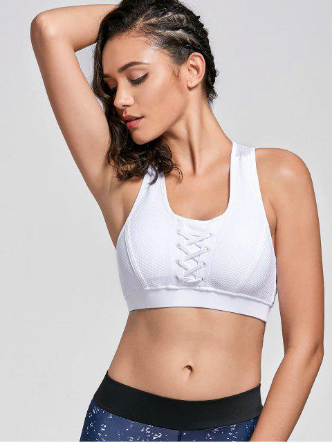 sale U Neck Fishnet Overlay Sports Bra - WHITE XL Mobile