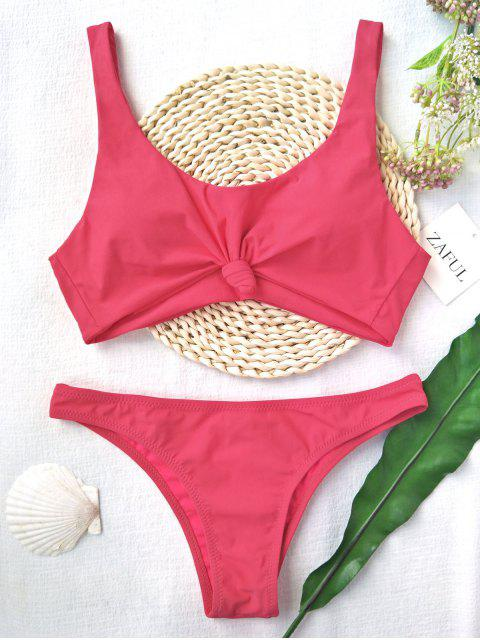 best Knotted Scoop High Cut Bathing Suit - WATERMELON PINK M Mobile