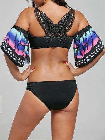 Image of Butterfly Sleeve Crochet Back Bikini Set