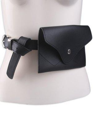 Pin Hebilla Faux Cuero Cinturón Bolsa - Negro