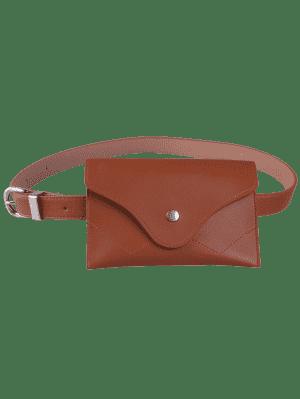 Pin Hebilla Faux Cuero Cinturón Bolsa - Chocolate