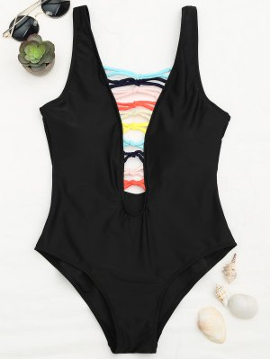 Shaping Strappy Front Plunge One Piece Swimsuit - Noir L