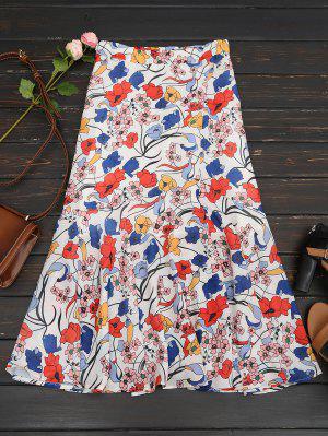 Floral Print Maxi Skirt - White M