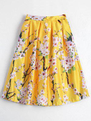 Impreso Floral Con Falda De Línea - Amarillo