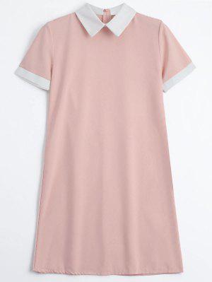 Back Zipper Dos Tono Mini Vestido - Rosa M