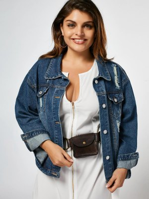 Ripped Plus Size Denim Jacket - Denim Blue Xl