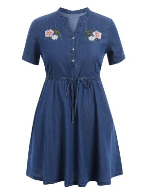 Embroidered Drawstring Plus Size Denim Dress