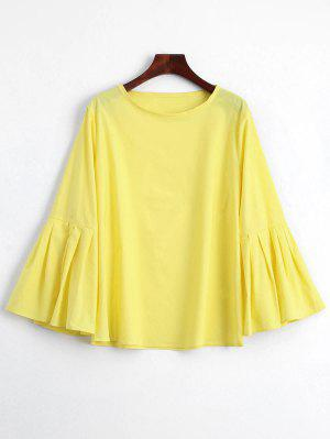 Pleated Bell Sleeve Plain Blouse - Yellow M