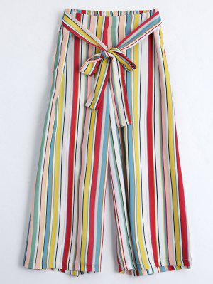 Self Tie Striped Capri Gaucho Pants - Stripe L