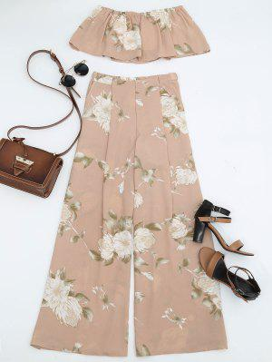 Smocked Tube Top And Slit Floral Wide Leg Pants - Floral M