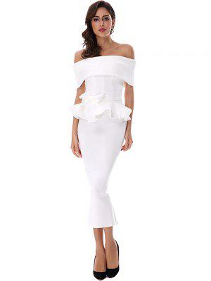 Ruffles Belted Top And Slit Skirt Set - White - White L