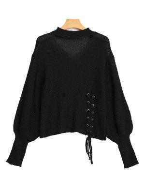 Sheer Lace Up Choker Knitwear - Black