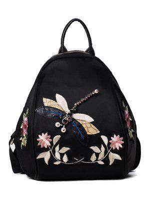 Dragonfly And Flower Patches Backapck - Black