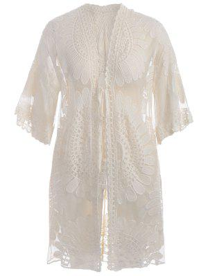 Plus Size Kimono Self Tie Cover Up Dress
