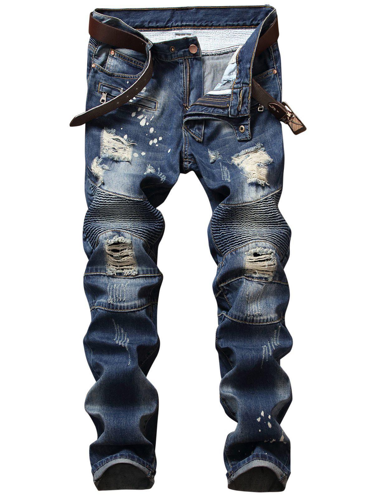 Zip Design Pantalons Denim Affligés