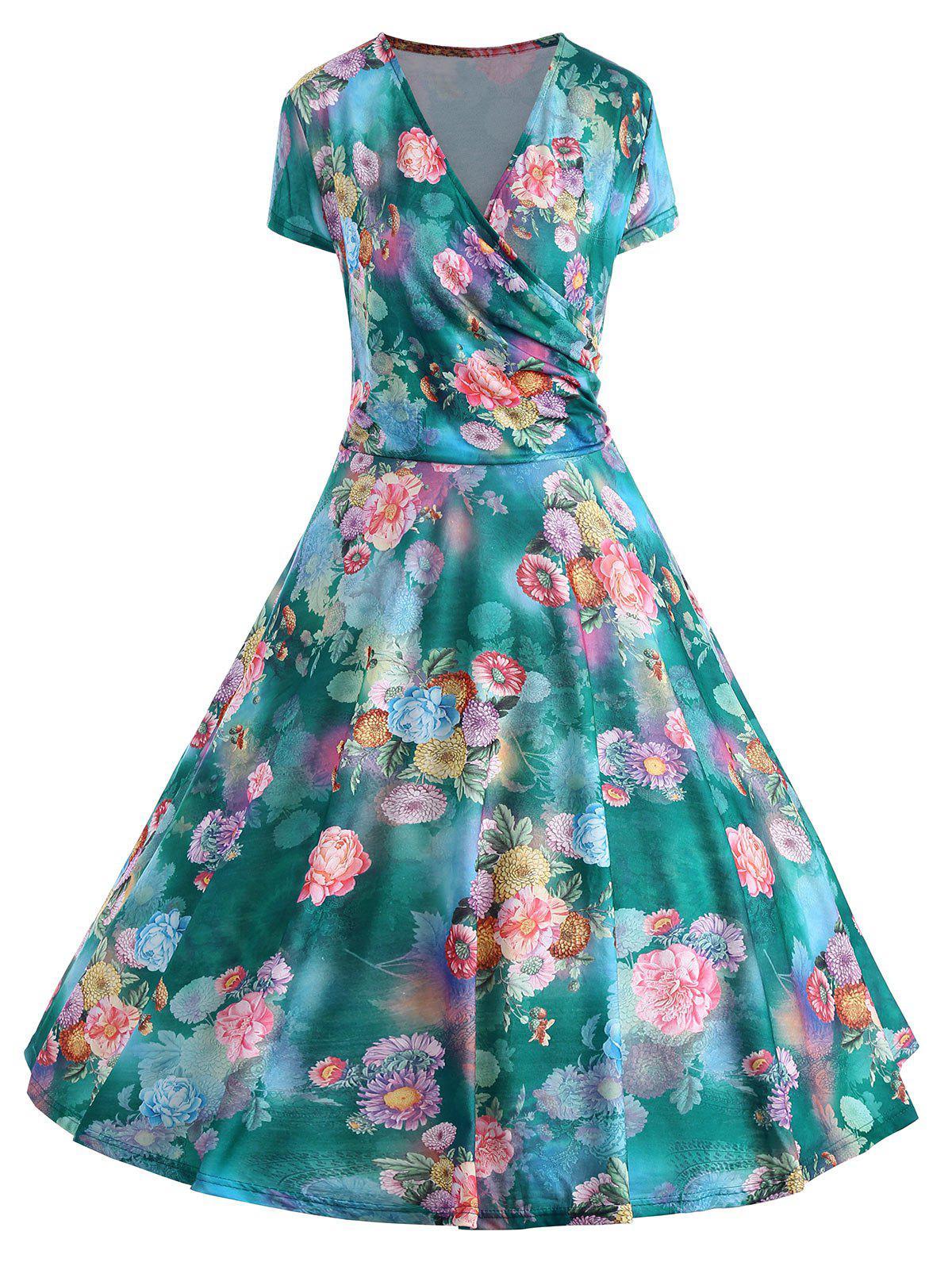 Plus Size Floral Print Pin Up Dress
