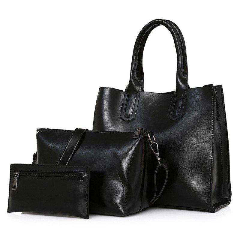 Faux Leather 3 Pieces Tote Bag Set 219422003
