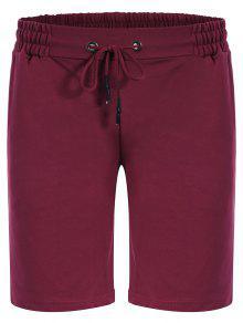Side Pocket Drawstring Men Bermuda Shorts - Purplish Red L