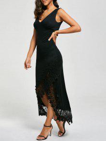 الدانتيل لوحة تغرق أكمام فستان ماكسي - أسود L