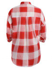 Y Cuadros Tallas 3xl Altas Camisa A Con Grandes Rojo xXRqwvSn5