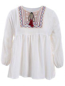 Plus Size Embroidered Long Sleeves Peasant Top - White 5xl