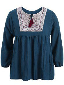 Plus Size Embroidered Long Sleeves Peasant Top - Cadetblue 5xl