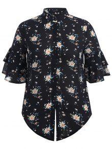 Flare Sleeve Floral Plus Size Blouse - Purplish Blue Xl