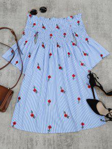 فستان مخطط توهج الأكمام مطرز بالازهار - الضوء الأزرق