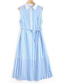 Sleeveless Half Buttoned Stripes Shirt Dress - Stripe L