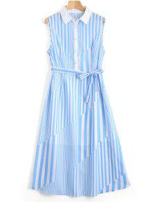 Sleeveless Half Buttoned Stripes Shirt Dress - Stripe S