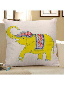العرقية الكتان الزخرفية الفيل وسادة القضية - الأصفر 45*45cm