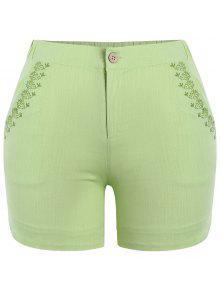 Shorts Brodés Haute Taille Taille Haute - Céladon Xl