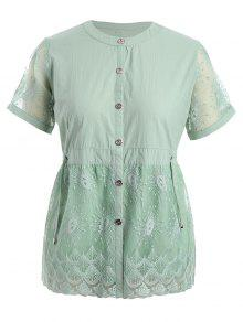 Plus Size Lace Panel Button Up Blouse - Pale Green 4xl