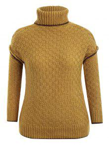 Turtle Neck Plus Size Pullover Sweater - Ginger