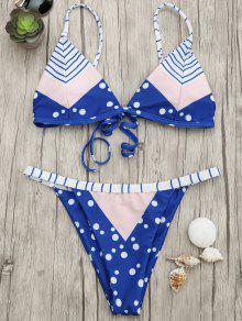 Padded Chevron Dot Print String Bikini Set - Blue And Pink M