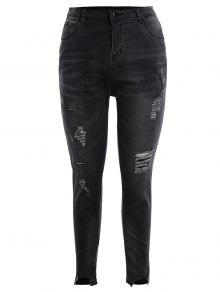 Skinny Plus Size Destroyed Pencil Jeans - Black Grey 4xl