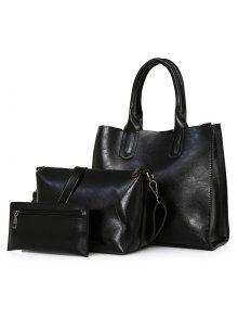 حقيبة جلد صناعي 3 قطع - أسود
